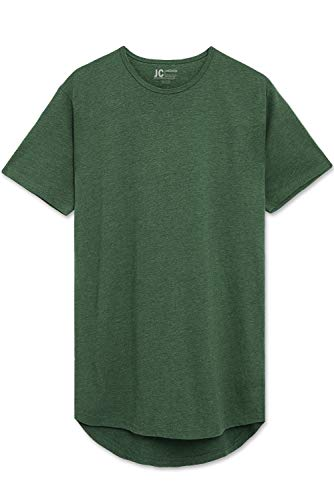 Green Heather Drop Cut Curved Hem Scallop Extra Long Longline T-Shirt 3X (Small Scallops)