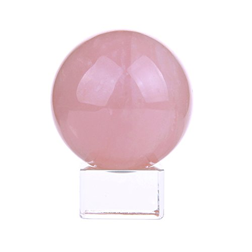 50mm Natural Carved Rose Quartz Ball Healing Crystal Sphere with Glass Base ()