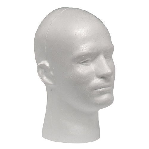 Top Case Pack of 4 Giell Styrofoam Foam Mannequin Wig Head Display Male White for sale