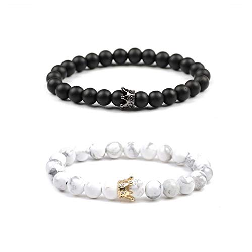 Believe London Distance Bracelets with Jewelry Bag & Meaning Card | Strong Elastic | Friendship Relationship Couples His Hers | Black Agate Onyx White (King 8 inch Black & Queen 7 inch White)