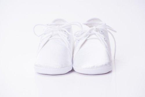 Toma - Patucos de raso para niño Blanco con Cable de cordones