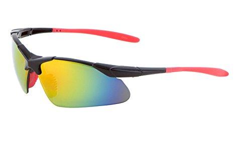 Semi-Rimless Sport Sunglasses Color Mirror Lens Biking Fishing Hiking (MJ0086-Red, - R Sol Shades