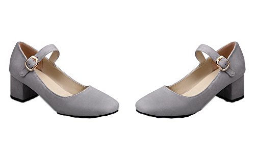 Kitten Heels Frosted Solid Toe Women's Square WeiPoot Gray Shoes Pumps Buckle ZRWF1qFO