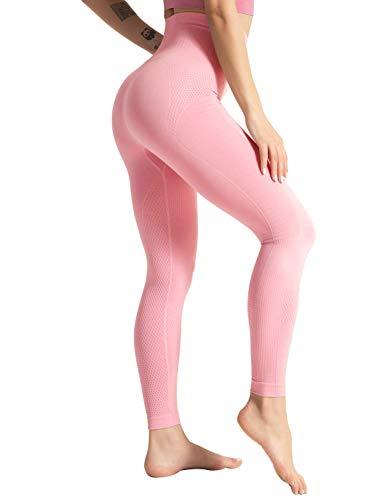 Hopgo Women's High Waist Seamless Compression Leggings Gym Yoga Pants Tummy Control Workout Leggings Running Tight Red Marl US L