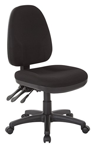 Office Star Dual Function Ergonomic Chair with Adjustable Back Height, Black