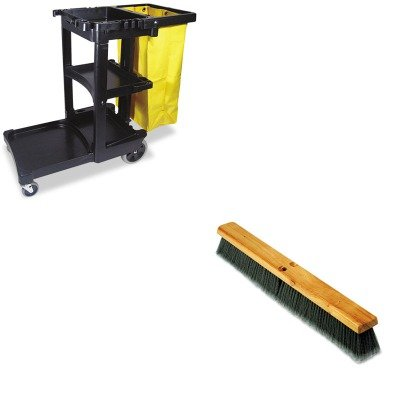 KITBWK20424RCP617388BK - Value Kit - Boardwalk Floor Brush Head (BWK20424) and Rubbermaid Cleaning Cart with Zippered Yellow Vinyl Bag, Black (RCP617388BK) by Boardwalk