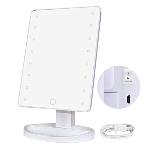 righton lighted makeup mirror with led lights touchscreen sensor with dimmable lights table top cosmetic mirror for bathroom vanity usb cable and battery dual power source (white)