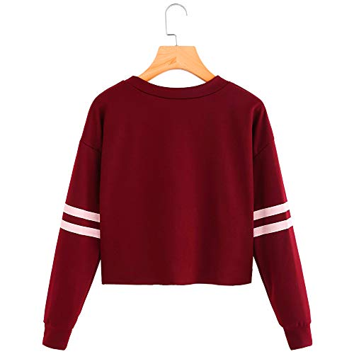 Sweatshirt Long Womens Wine Stripe Tops Sleeve Neck Morwind Round Blouse Printing U0qPP