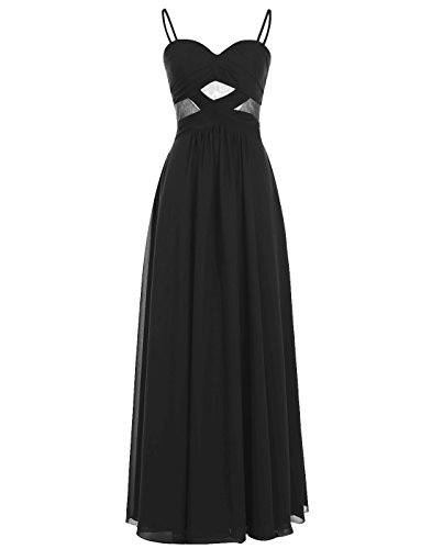 ALAGIRLS Spaghetti Straps Prom Dress See Through Long Chiffon Gown BlackUS8