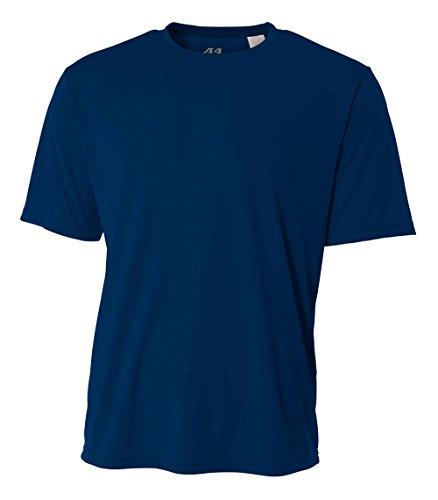 A4 Men's Cooling Performance Crew Short Sleeve T-Shirt, Navy, - Tee Layer Sleeve Short Crew
