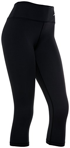 Women's Compression Capri's (Black - L) - Body Slimming for Yoga, Hidden Pocket, Amazing Workout (Capri Cropped Tights)