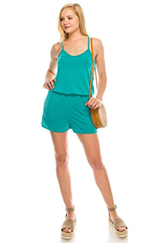 (URBAN K Women's Plus and Regular Size Solid Racer Back Rompers with Pockets)