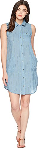 Toad&Co Women's Indigo Ridge Sleeveless Dress Light Indigo Arrow Print Large (Dress Toad Horny)
