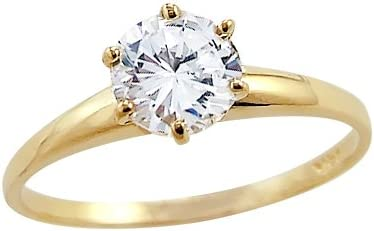 Solid 14k Yellow Gold Round Solitaire Cz Cubic Zirconia Engagement Ring 1 0 Ct Amazon Com