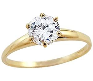 Solid 14k Yellow Gold Round Solitaire CZ Cubic Zirconia