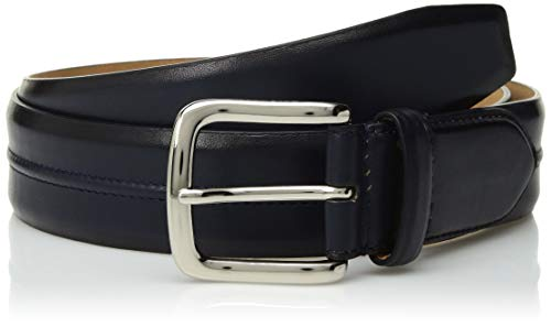 Mens Cole Belt Haan (Cole Haan Men's 35mm Burnished Leather Belt with Pinched Seam Detail, Marine Blue, 38)