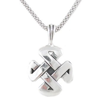 Mens Strength Necklace Celtic Knot Pendant In Sterling Silver On 24