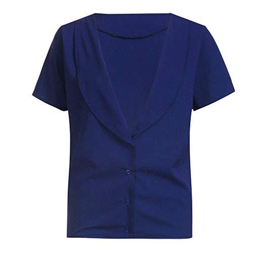 Camisa Con Sexy Azul Mujeres Manga Verano Blusa Mujer Las V Blusas Color Liso En Camiseta Tops De Para Elegantes Corta Cuello Frauit 0145xPwqq