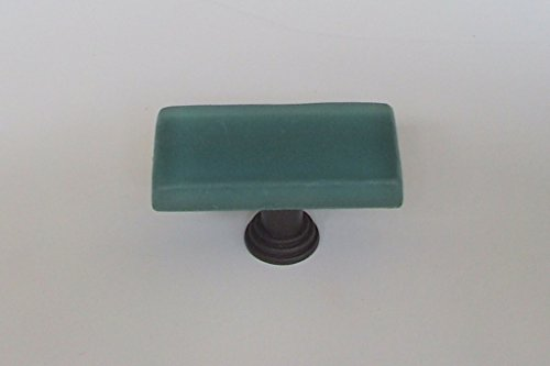 "Vine Designs VD-VCFK-Teal-ORB Frosted Glass Knob with Oil Rubbed Bronze Base, 1"" x 2"""