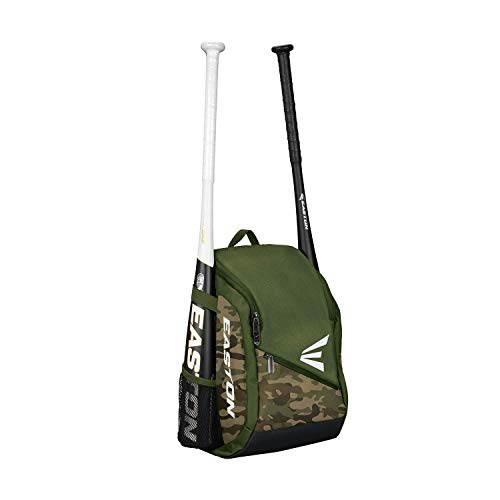 EASTON GAME READY Youth Bat & Equipment Backpack Bag | Baseball Softball | 2020 | Army Camo | 2 Bat Pockets | Vented Main Compartment | Vented Shoe Pocket | Valuables Pocket | Fence Hook