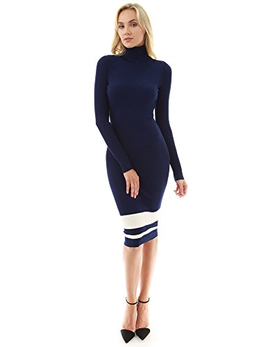 Blue Ribbed Sweater - PattyBoutik Women's Turtleneck Ribbed Sweater Dress (Navy Blue and Ivory L)