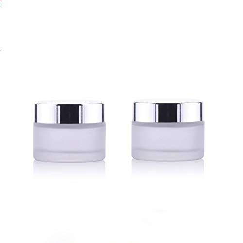 2PCS 30ml/1oz Empty Refillable Frosted Glass Round Bottle Case Jars Pot Cosmetic Container Storage Travel Packaging with Silver Screw Cap For Cream Facial Mask Lip Balm Ointments