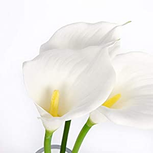 """Floral Kingdom 28"""" Calla Lily - Real Touch Latex Artificial - Flowers for Home décor, Wedding Bouquets, and centerpieces (3 Stems) 14"""