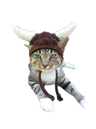 Viking Pirate Horn Cap Pet Wool Crochet Knitted Cat Costume Hat Ear Warmer Headband Protector (Greek Cat Costume)