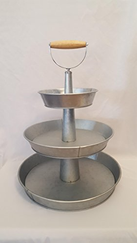 Buy 1 X 3 Tier Galvanized Round Metal Stand Outdoor Indoor Serveware