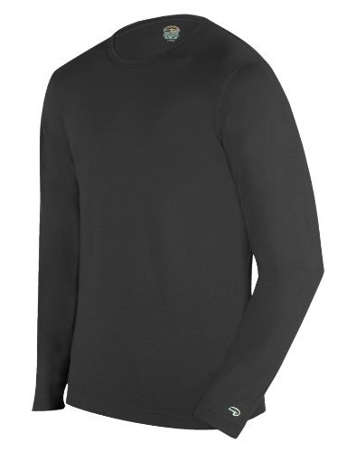 Duofold Men's Expedition Weight Two-Layer Thermal Tagless Crew, Black,