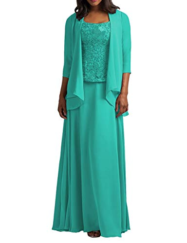 Cdress Chiffon Mother of The Bride Dresses with Jacket Long Evening Formal Gowns Plus Size Lace Prom Dress Jade US 18W (Jade Designer Mother Of The Bride Dresses)