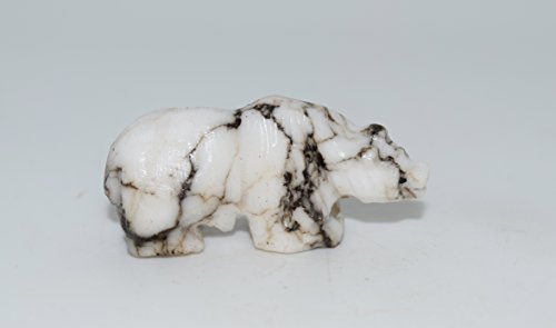 Navajo Bear - Hand Carved White Buffalo Turquoise Fetish Bear Carving