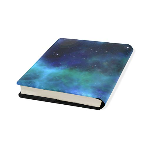 Galaxy Stretchable Leather Book Covers Standard Size for Student Hardcover Textbooks Fits up to 9x11-Inch for School Girls Boys Gift by FeiHuang
