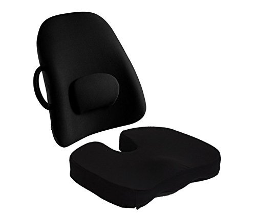 BodyHealt Orthopedic Memory Foam Seat Cushion and Lumbar Support Pillow for Office Chair and Car Seat - Ergonomic Back/Stress Pain Relieve, Black