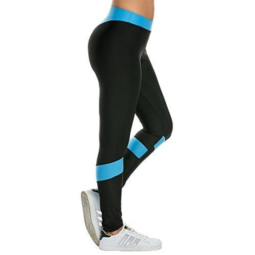 Coorun Femme Legging Sport Yoga Pilates Jogging Gym Pantalon Genou Patchwork