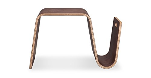 Walnut-Veneer Curved Side Table