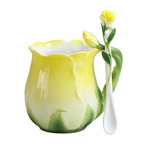 (YBK Tech Novelty 3D Rose Cup Bone China Porcelain Coffee Mug Afternoon Tea Cup Spoon Set (Yellow))