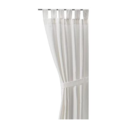 Ikea LENDA Pair Of Curtains With Tie Backs White Bleached 2 Panels