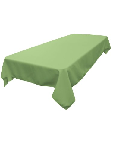 LA Linen Polyester Poplin Rectangular Tablecloth, 60 by 120-Inch, Sage (Tablecloth Polyester Sage)