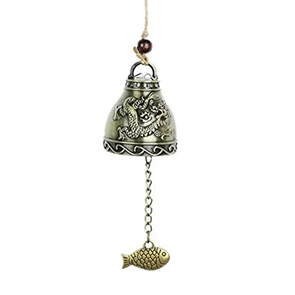 Vintage Fengshui Bell Good Luck Bless Brass Zinc Alloy Home Garden Hanging Windchime Chinese Traditional Wind Chime Ornament