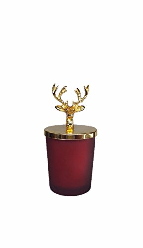 Effak Christmas Candle, Christmas Gift, Christmas Lucky Deer Candle With Lid, Home Candle, Meditation, Wedding, Winter Style, Glass Jar, Red by Effak