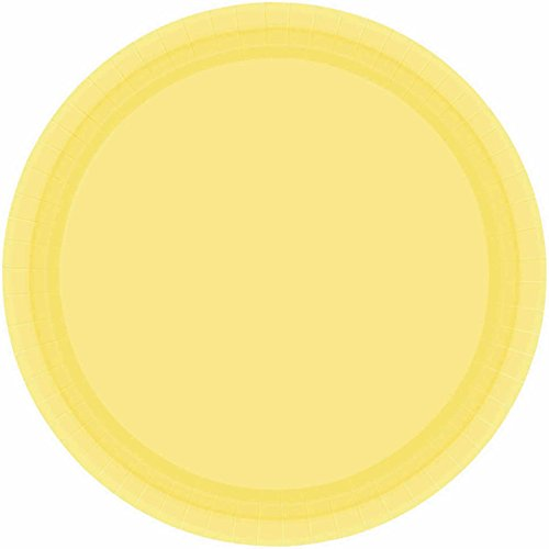 Yellow Round Dinner Plate - Disposable Party Round Dinner Plates Tableware, Light Yellow, Paper , 9
