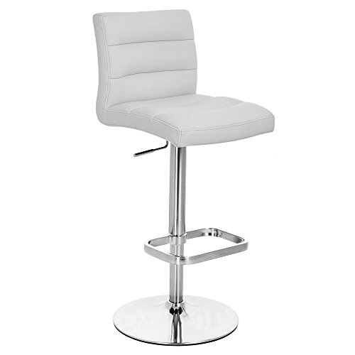 Zuri Furniture Gray Lush Adjustable Height Swivel Armless Bar Stool with Chrome Base