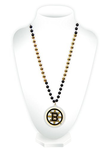 Boston Bruins Mardi Gras Beads With Medallion