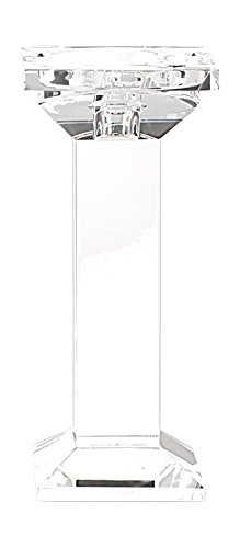 True Grit Fine Crystal Square Base Tall Pillar Decorative Candlestick Holder 8