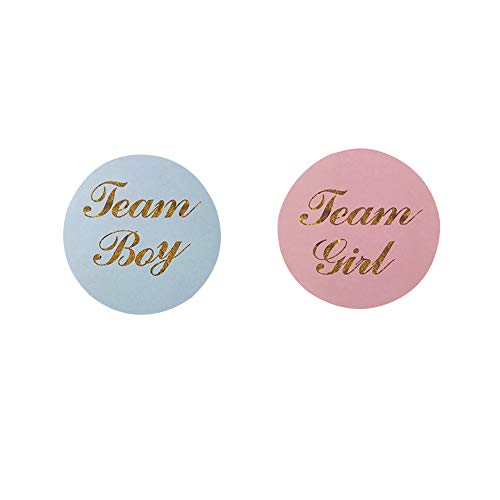 ROOTLISA 80 PCS Gold Gender Reveal Stickers Team boy and Team Girl Baby Shower Sticker Labels Round Circle Labels -