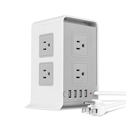 (TNP Power Strip Tower Surge Protector with 4 USB Ports 8 AC Outlet, Charging Station Power Supply Multi Socket Plug with 6ft Extension Cord For PC Laptop Smartphone & Appliance (Gray))