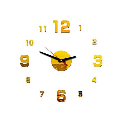 Respctful✿3D DIY Wall Clock, Frameless Large Wall Clock Home Decoration Mute Mirror Wall Stickers Black Roman Numerals