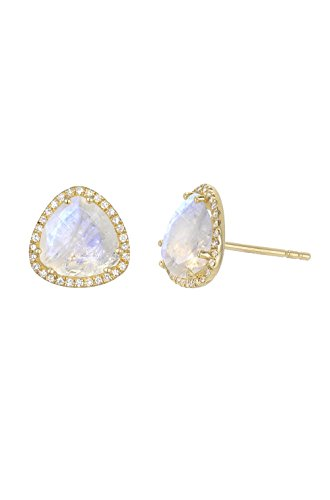 Diamond moonstone stud earrings, Zoe Lev Jewelry (Moonstone Earrings Diamond)