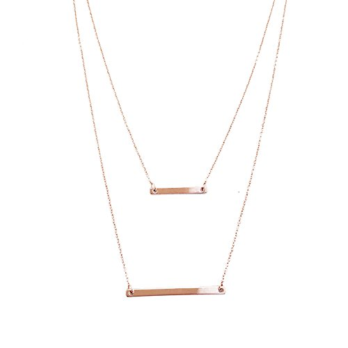 HONEYCAT 18k Rose Gold Double Bar Layered Long Chain Necklace | Minimalist, Delicate Jewelry